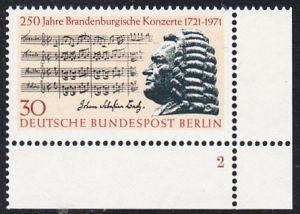 BERLIN 1971 Michel-Nummer 392 postfrisch EINZELMARKE ECKRAND unten rechts - Brandenburgische Konzerte / Johann Sebastian Bach, Komponist