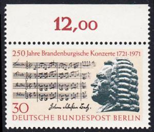 BERLIN 1971 Michel-Nummer 392 postfrisch EINZELMARKE RAND oben (b) - Brandenburgische Konzerte / Johann Sebastian Bach, Komponist
