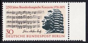 BERLIN 1971 Michel-Nummer 392 postfrisch EINZELMARKE RAND rechts - Brandenburgische Konzerte / Johann Sebastian Bach, Komponist