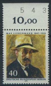 BERLIN 1972 Michel-Nummer 434 postfrisch EINZELMARKE RAND oben (d) - Max Liebermann, Maler und Grafiker