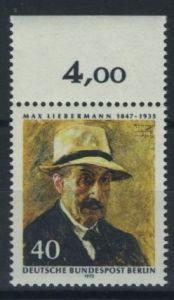 BERLIN 1972 Michel-Nummer 434 postfrisch EINZELMARKE RAND oben (a) - Max Liebermann, Maler und Grafiker