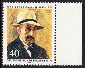 BERLIN 1972 Michel-Nummer 434 postfrisch EINZELMARKE RAND rechts - Max Liebermann, Maler und Grafiker