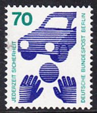BERLIN 1973 Michel-Nummer 453 postfrisch EINZELMARKE - Unfallverhütung; Verkehrssicherheit - Ball vor Auto