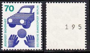 BERLIN 1973 Michel-Nummer 453 postfrisch EINZELMARKE m/ rücks.Rollennummer 195 (b) - Unfallverhütung; Verkehrssicherheit - Ball vor Auto