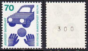 BERLIN 1973 Michel-Nummer 453 postfrisch EINZELMARKE m/ rücks.Rollennummer 300 - Unfallverhütung; Verkehrssicherheit - Ball vor Auto