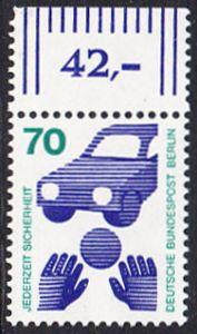 BERLIN 1973 Michel-Nummer 453 postfrisch EINZELMARKE RAND oben (c) - Unfallverhütung; Verkehrssicherheit - Ball vor Auto