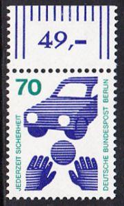 BERLIN 1973 Michel-Nummer 453 postfrisch EINZELMARKE RAND oben (d) - Unfallverhütung; Verkehrssicherheit - Ball vor Auto