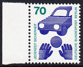 BERLIN 1973 Michel-Nummer 453 postfrisch EINZELMARKE RAND links (a) - Unfallverhütung; Verkehrssicherheit - Ball vor Auto