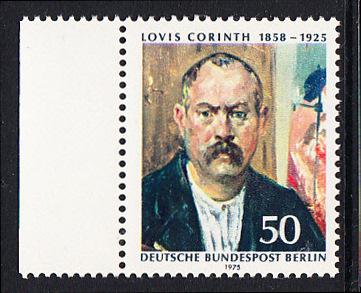 BERLIN 1975 Michel-Nummer 509 postfrisch EINZELMARKE RAND links - Lovis Corinth, Maler und Grafiker