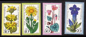 BERLIN 1975 Michel-Nummer 510-513 postfrisch SATZ(4) EINZELMARKEN - Alpenblumen