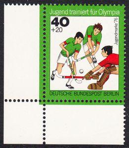 BERLIN 1976 Michel-Nummer 518 postfrisch EINZELMARKE ECKRAND unten links - Jugend trainiert für Olympia: Hockey