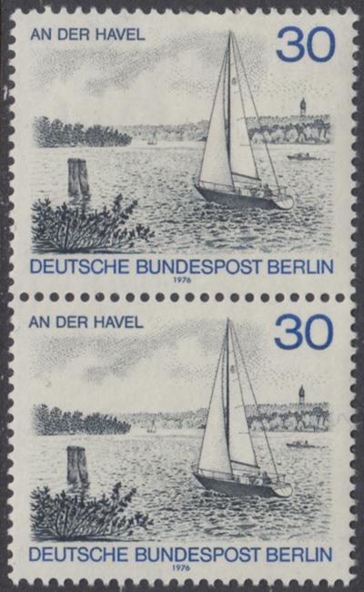 BERLIN 1976 Michel-Nummer 529 postfrisch vert.PAAR - Berlin-Ansichten: An der Havel