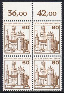 BERLIN 1977 Michel-Nummer 537 postfrisch BLOCK RÄNDER oben - Burgen und Schlösser: Marksburg