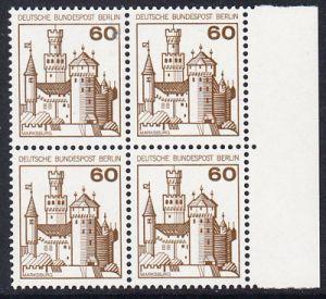 BERLIN 1977 Michel-Nummer 537 postfrisch BLOCK RÄNDER rechts - Burgen und Schlösser: Marksburg
