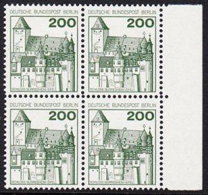 BERLIN 1977 Michel-Nummer 540 postfrisch BLOCK RÄNDER rechts - Burgen und Schlösser: Schloss Bürresheim
