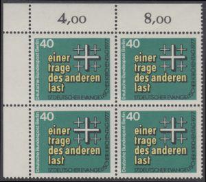 BERLIN 1977 Michel-Nummer 548 postfrisch BLOCK ECKRAND oben links - Deutscher Evangelischer Kirchentag, Berlin