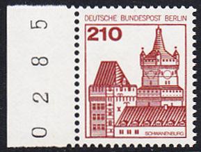 BERLIN 1978 Michel-Nummer 589 postfrisch EINZELMARKE RAND links (BZ) - Burgen & Schlösser: Schwanenburg, Kleve