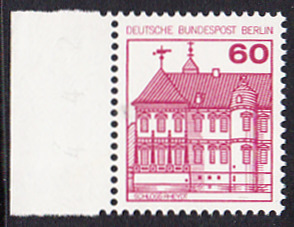 BERLIN 1979 Michel-Nummer 611 postfrisch EINZELMARKE RAND links - Burgen & Schlösser: Schloss Rheydt