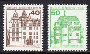 BERLIN 1980 Michel-Nummer 614-615 postfrisch SATZ(2) EINZELMARKEN - Burgen & Schlösser: Renaissance-Schloss Wolfsburg / Wasserschloß Inzlingen