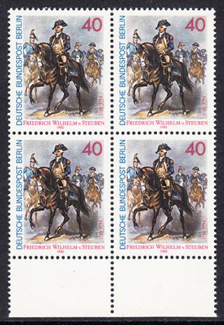 BERLIN 1980 Michel-Nummer 628 postfrisch BLOCK RÄNDER unten - Friedrich Wilhelm von Steuben, General der amerikanischen Kontinentalarmee