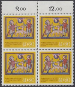 BERLIN 1980 Michel-Nummer 633 postfrisch BLOCK RÄNDER oben - Weihnachten