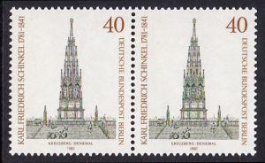BERLIN 1981 Michel-Nummer 640 postfrisch horiz.PAAR - Karl Friedrich Schinkel, Baumeister und Maler