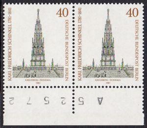 BERLIN 1981 Michel-Nummer 640 postfrisch horiz.PAAR RAND unten - Karl Friedrich Schinkel, Baumeister und Maler