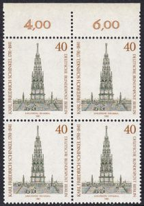 BERLIN 1981 Michel-Nummer 640 postfrisch BLOCK RÄNDER oben (a) - Karl Friedrich Schinkel, Baumeister und Maler
