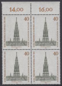 BERLIN 1981 Michel-Nummer 640 postfrisch BLOCK RÄNDER oben (b) - Karl Friedrich Schinkel, Baumeister und Maler