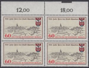 BERLIN 1982 Michel-Nummer 659 postfrisch BLOCK RÄNDER oben - 750 Jahre Stadt Spandau
