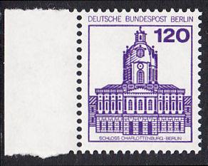 BERLIN 1982 Michel-Nummer 675 postfrisch EINZELMARKE RAND links - Burgen & Schlösser: Schloss Charlottenburg