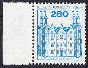 BERLIN 1982 Michel-Nummer 676 postfrisch EINZELMARKE RAND links  - Burgen & Schlösser: Schloss Ahrensburg