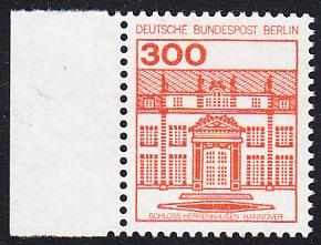 BERLIN 1982 Michel-Nummer 677 postfrisch EINZELMARKE RAND links - Burgen & Schlösser: Schloss Herrenhausen