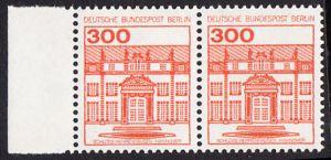 BERLIN 1982 Michel-Nummer 677 postfrisch horiz.PAAR RAND links - Burgen & Schlösser: Schloss Herrenhausen