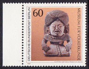 BERLIN 1984 Michel-Nummer 710 postfrisch EINZELMARKE RAND links - Kunstschätze in Berliner Museen: Göttin mit dem Perlenturban (Museum für Völkerkunde)