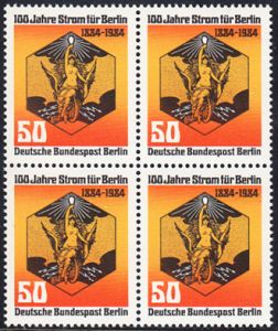 BERLIN 1984 Michel-Nummer 720 postfrisch BLOCK - 100 Jahre Strom für Berlin