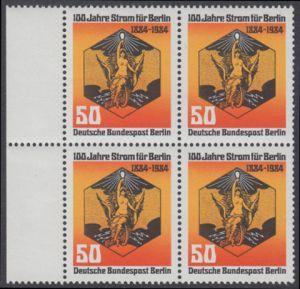 BERLIN 1984 Michel-Nummer 720 postfrisch BLOCK RÄNDER links - 100 Jahre Strom für Berlin