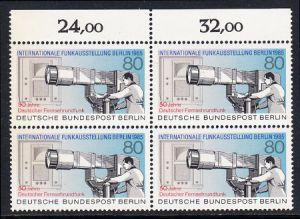 BERLIN 1985 Michel-Nummer 741 postfrisch BLOCK RÄNDER oben - Internationale Funkausstellung (IFA), Berlin / 50 Jahre Deutscher Fernsehrundfunk
