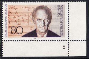 BERLIN 1986 Michel-Nummer 750 postfrisch EINZELMARKE ECKRAND unten rechts (FN/a) - Wilhelm Furtwängler, Dirigent und Komponist