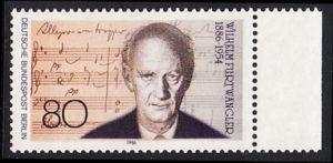 BERLIN 1986 Michel-Nummer 750 postfrisch EINZELMARKE RAND rechts - Wilhelm Furtwängler, Dirigent und Komponist