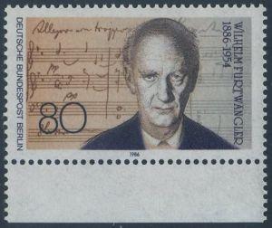 BERLIN 1986 Michel-Nummer 750 postfrisch EINZELMARKE RAND unten - Wilhelm Furtwängler, Dirigent und Komponist