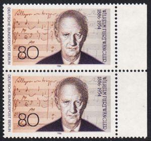 BERLIN 1986 Michel-Nummer 750 postfrisch vert.PAAR RAND rechts - Wilhelm Furtwängler, Dirigent und Komponist