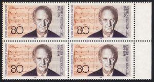 BERLIN 1986 Michel-Nummer 750 postfrisch BLOCK RÄNDER rechts - Wilhelm Furtwängler, Dirigent und Komponist