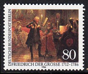 BERLIN 1986 Michel-Nummer 764 postfrisch EINZELMARKE - König Friedrich der Große von Preußen