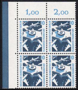 BERLIN 1988 Michel-Nummer 798 postfrisch BLOCK ECKRAND oben links - Sehenswürdigkeiten: Flughafen Frankfurt/Main