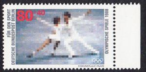 BERLIN 1988 Michel-Nummer 802 postfrisch EINZELMARKE RAND rechts - Sporthilfe: Olympische Winterspiele, Calgary / Olympische Sommerspiele, Seoul (Eiskunstlauf)