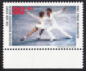 BERLIN 1988 Michel-Nummer 802 postfrisch EINZELMARKE RAND unten - Sporthilfe: Olympische Winterspiele, Calgary / Olympische Sommerspiele, Seoul (Eiskunstlauf)