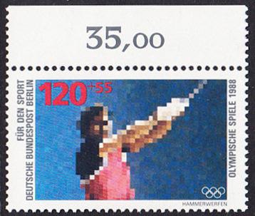 BERLIN 1988 Michel-Nummer 803 postfrisch EINZELMARKE RAND oben - Sporthilfe: Olympische Winterspiele, Calgary / Olympische Sommerspiele, Seoul (Hammerwerfen)
