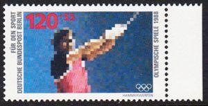 BERLIN 1988 Michel-Nummer 803 postfrisch EINZELMARKE RAND rechts - Sporthilfe: Olympische Winterspiele, Calgary / Olympische Sommerspiele, Seoul (Hammerwerfen)