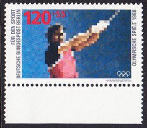 BERLIN 1988 Michel-Nummer 803 postfrisch EINZELMARKE RAND unten - Sporthilfe: Olympische Winterspiele, Calgary / Olympische Sommerspiele, Seoul (Hammerwerfen)